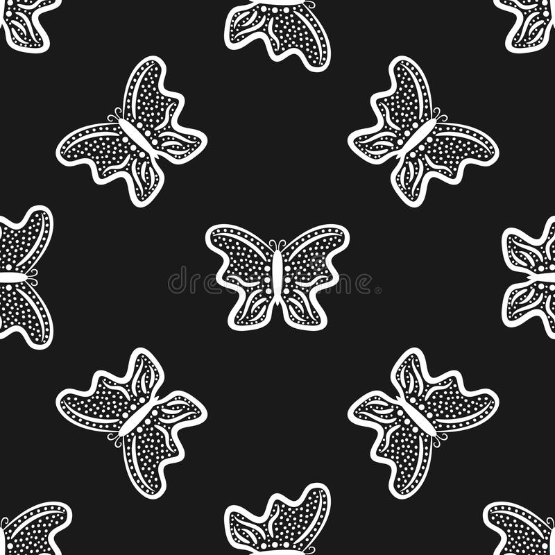 Butterflies drawn by hand. Seamless pattern. Sketch, doodle. stock illustration