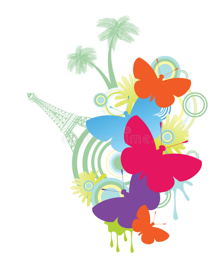 Butterflies Eiffel Tower and Palm Trees vector illustration