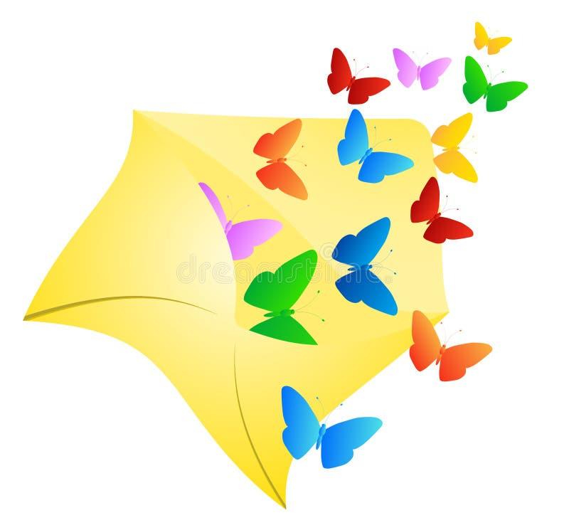 Butterflies in envelope. Illustration of butterflies in envelope vector illustration