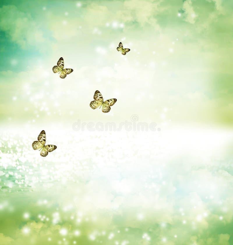 Butterflies on fantasy lake royalty free stock photo
