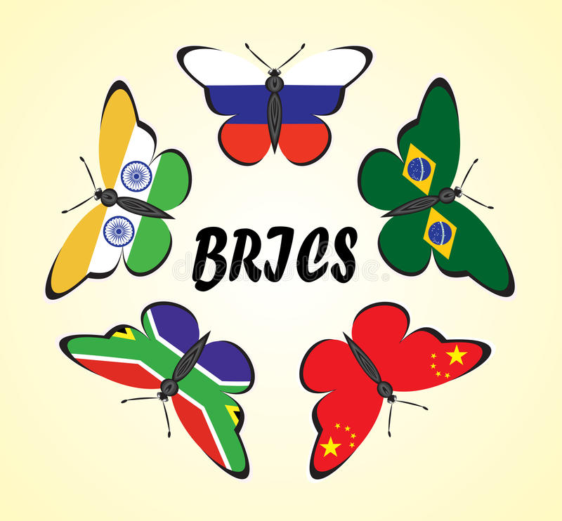 Butterflies with flags of countries royalty free illustration