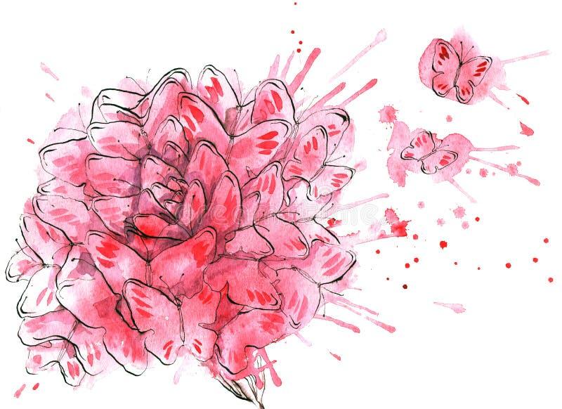 Download Butterflies flower stock illustration. Image of scene - 23842909