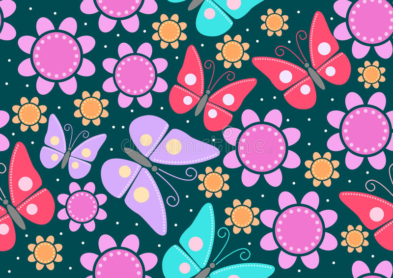 Butterflies & Flowers royalty free illustration