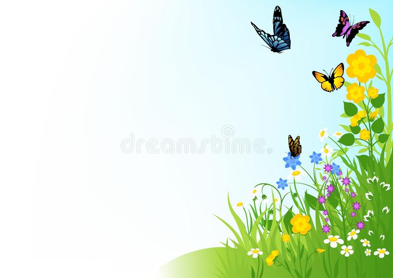 Butterflies and Flowers royalty free illustration