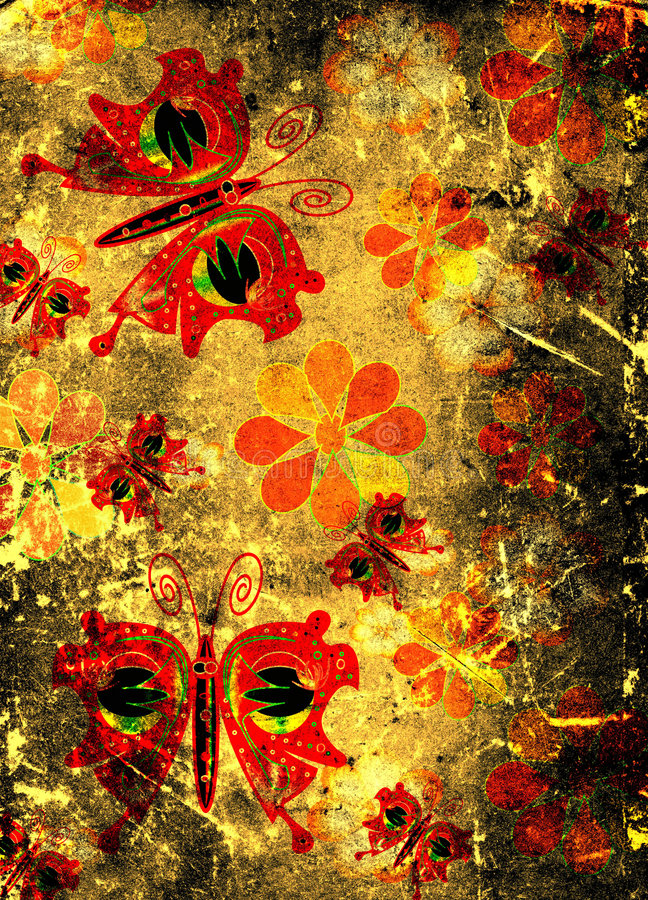Butterflies and flowers. On grunge scraped paper stock photo