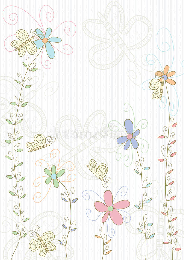 Butterflies Flowers Land_eps royalty free illustration