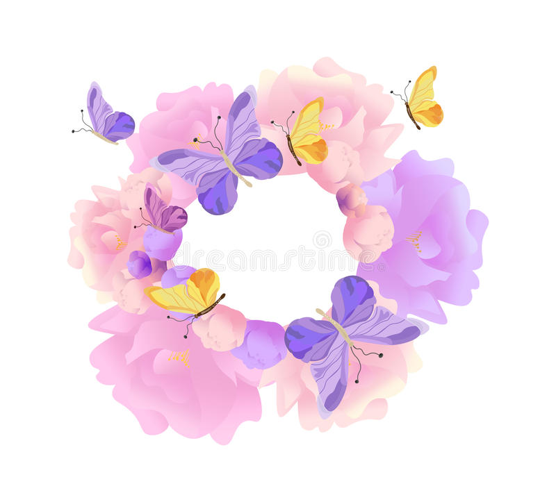 Butterflies and flowers round wreath background Vector. Pastel colors. Butterflies and flowers round wreath background Vector illustration stock illustration