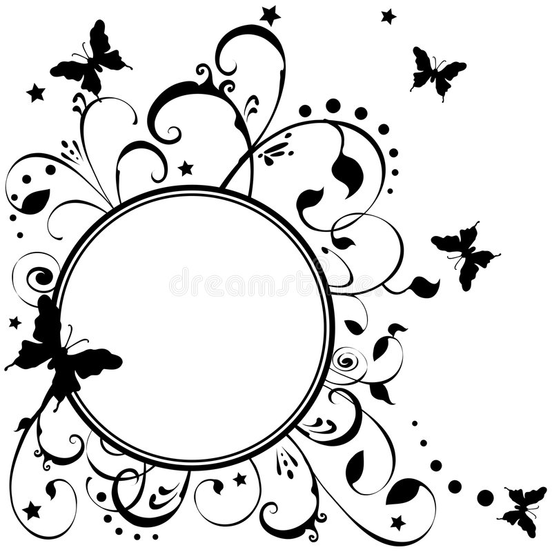 Butterflies Flowers Stars Art stock illustration