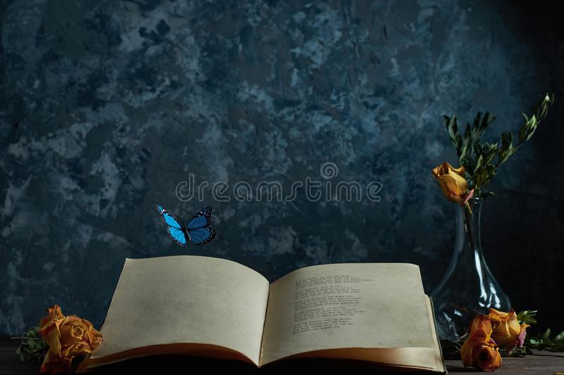 Butterflies fly out of the writer`s book stock image