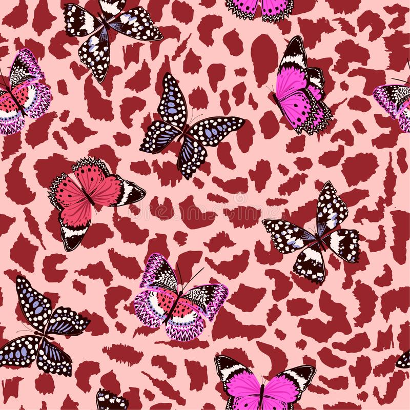 Butterflies flying on animal leopard skin seamless pattern ,vector design for fashion,fabric,wallpaper,and all prints stock illustration