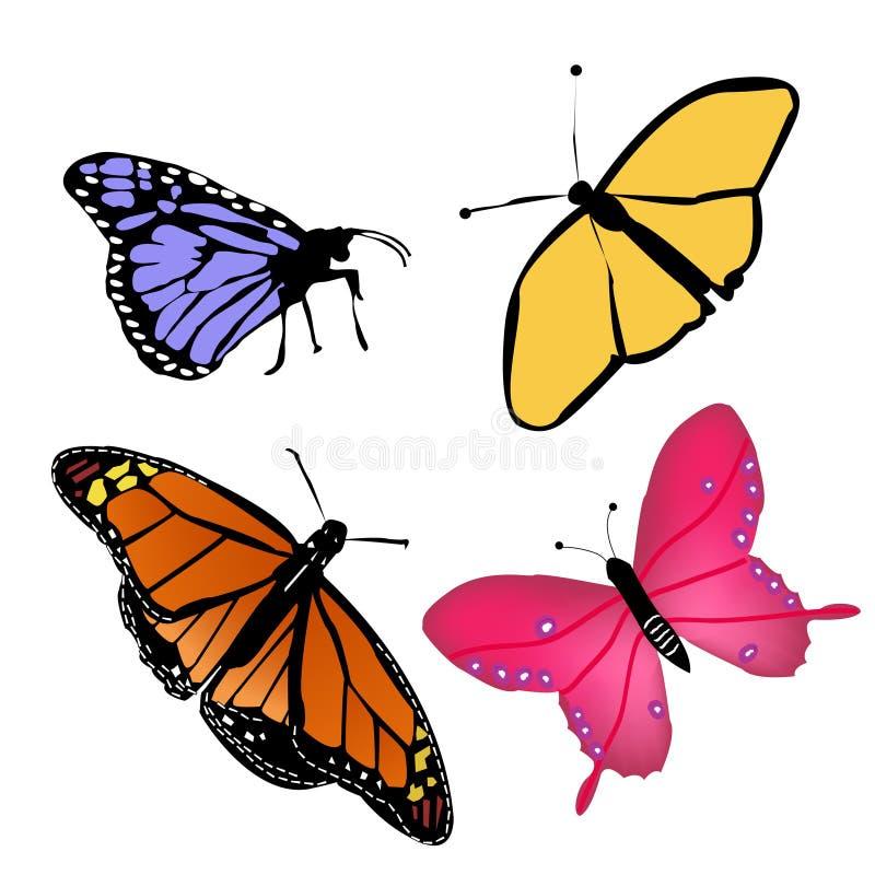 Butterflies-four. Cheerful colorful butterflies in summertime