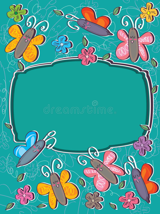 Butterflies Frame Card_eps royalty free illustration
