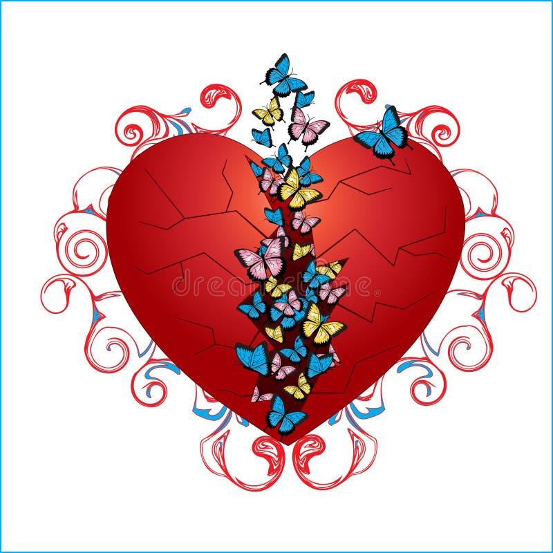 Butterflies in heart. Feeling of love. Vector illustration stock illustration