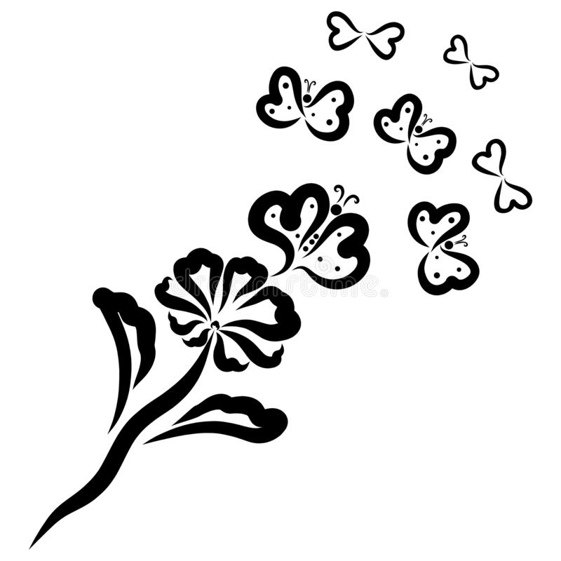 Butterflies from hearts flying from a flower stock photos