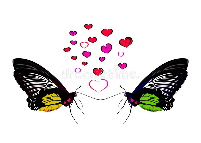 Butterflies and hearts. Vector illustration. valentines day greeting card royalty free illustration