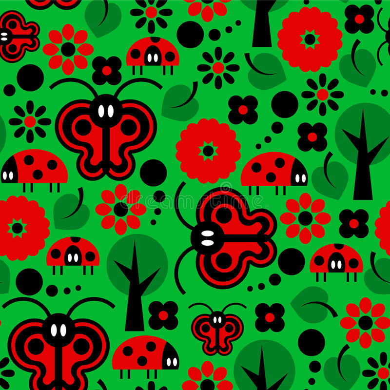 Download Butterflies And Ladybirds Pattern Stock Vector - Illustration: 28537649