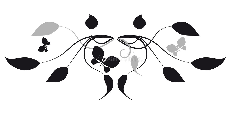 Butterflies and leaves. Vignette vector illustration