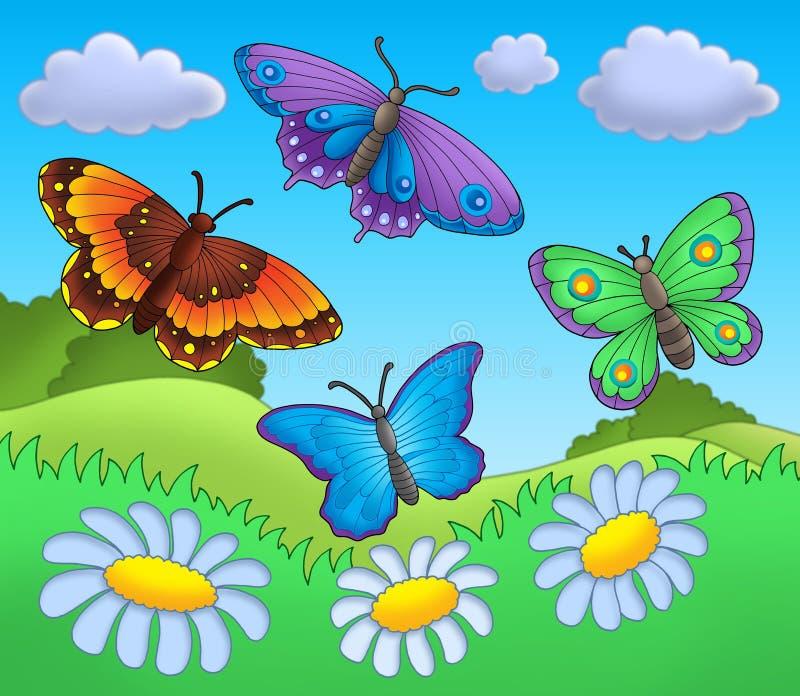 Butterflies on meadow. Color illustration
