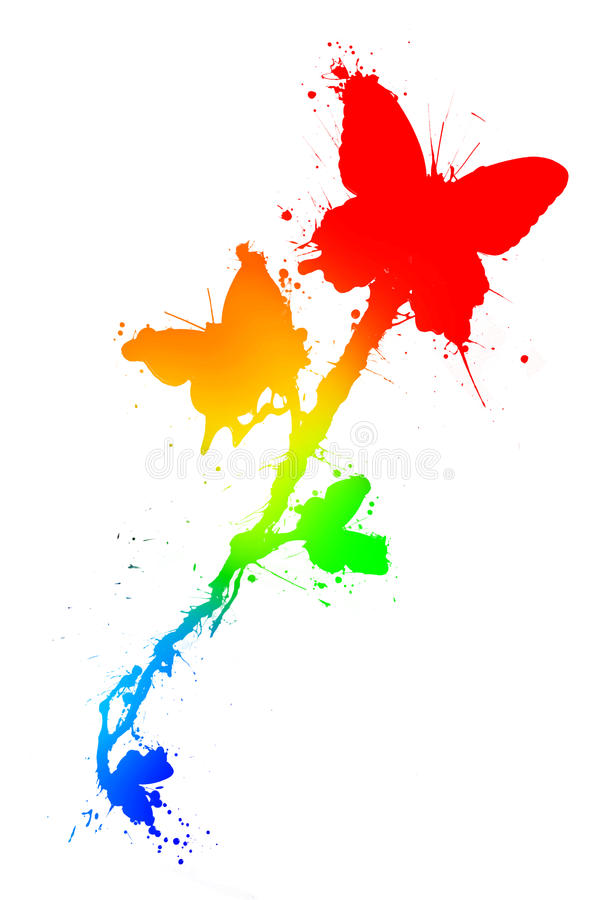 Download Butterflies In Paint Splatter Stock Illustration - Illustration of graphic, curve: 10546020