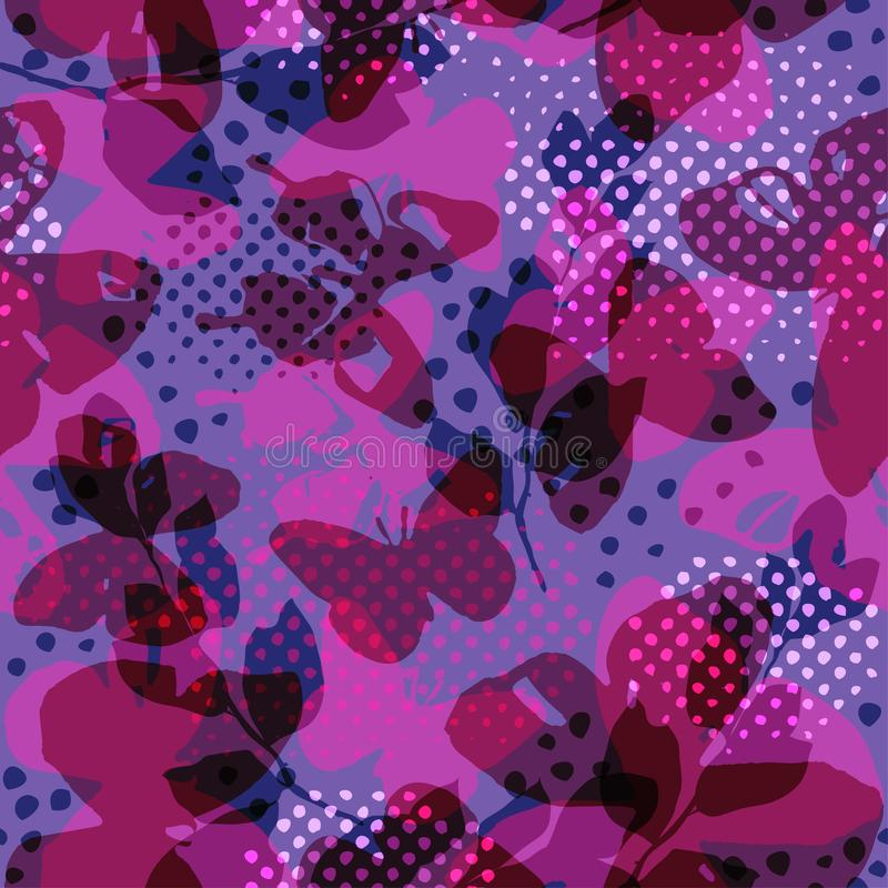 Butterflies and polka dots transparent seamless pattern. Watercolours butterflies in girlish print. vector illustration