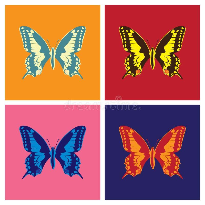 Butterflies in pop art vector illustration