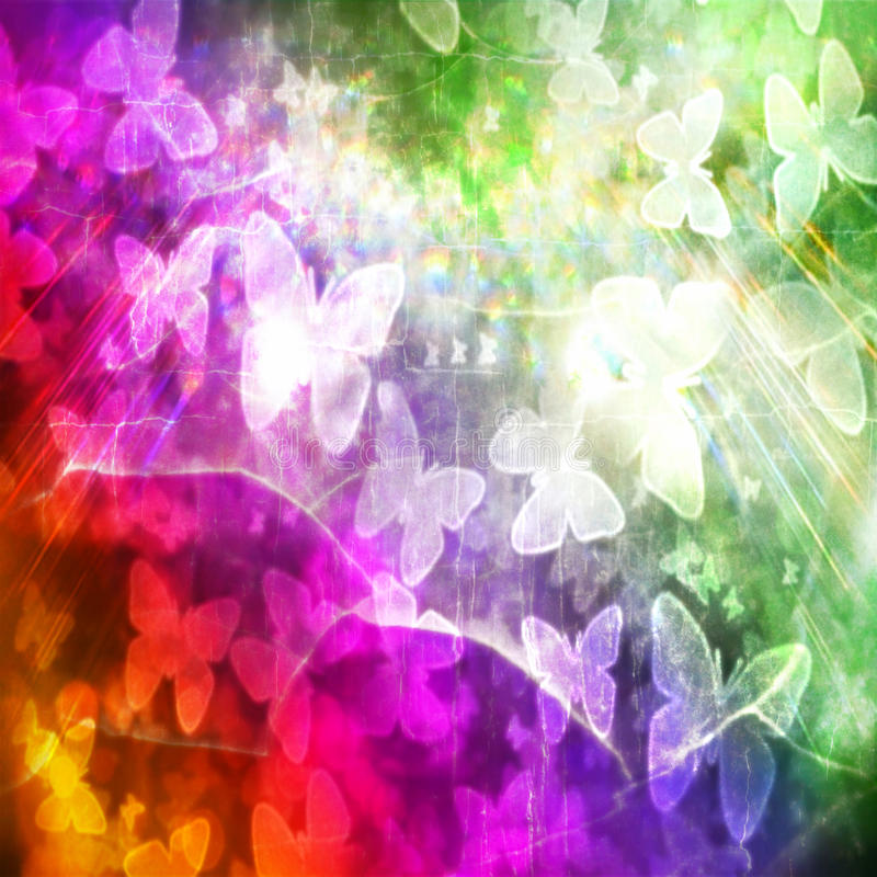 Rainbow of Butterflies texture grunge vintage royalty free stock images