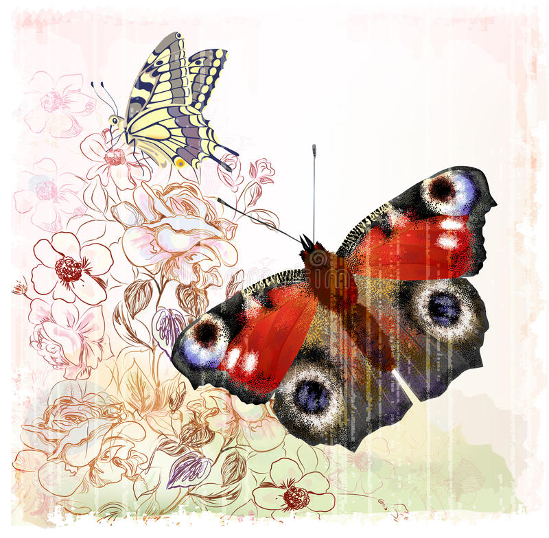 Download Butterflies And Roses Stock Image - Image: 25342901