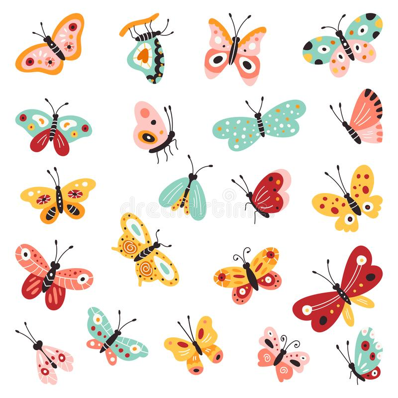Butterflies, set of hand drawn collection on isolated white background. Vector illustrations. Creative Fluttering stock photography