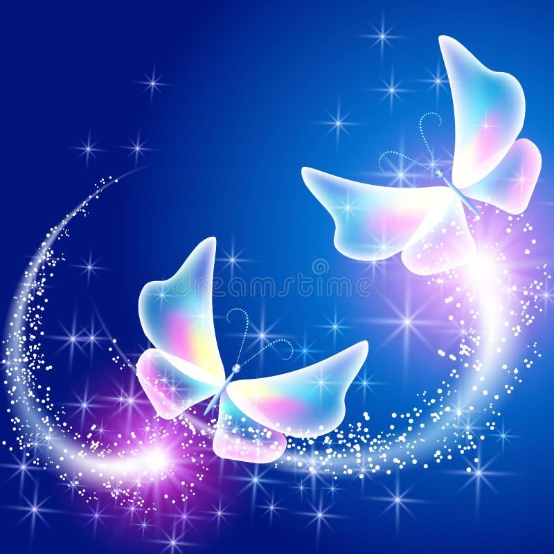 Butterflies and sparkling firework. Neon butterflies and sparkling firework royalty free illustration
