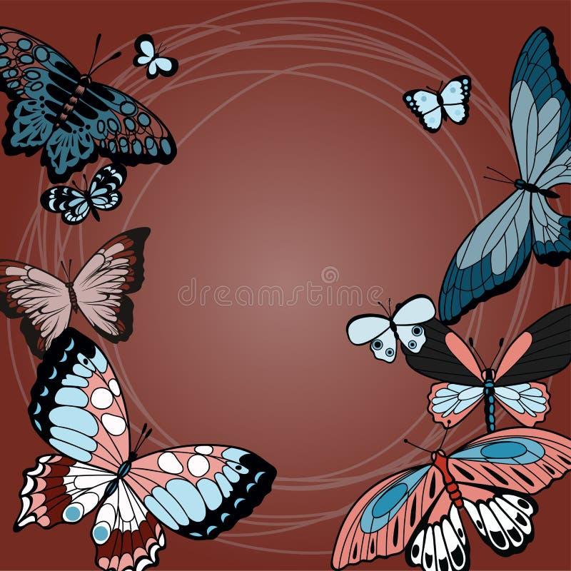 Butterflies summer design illustration in red royalty free illustration
