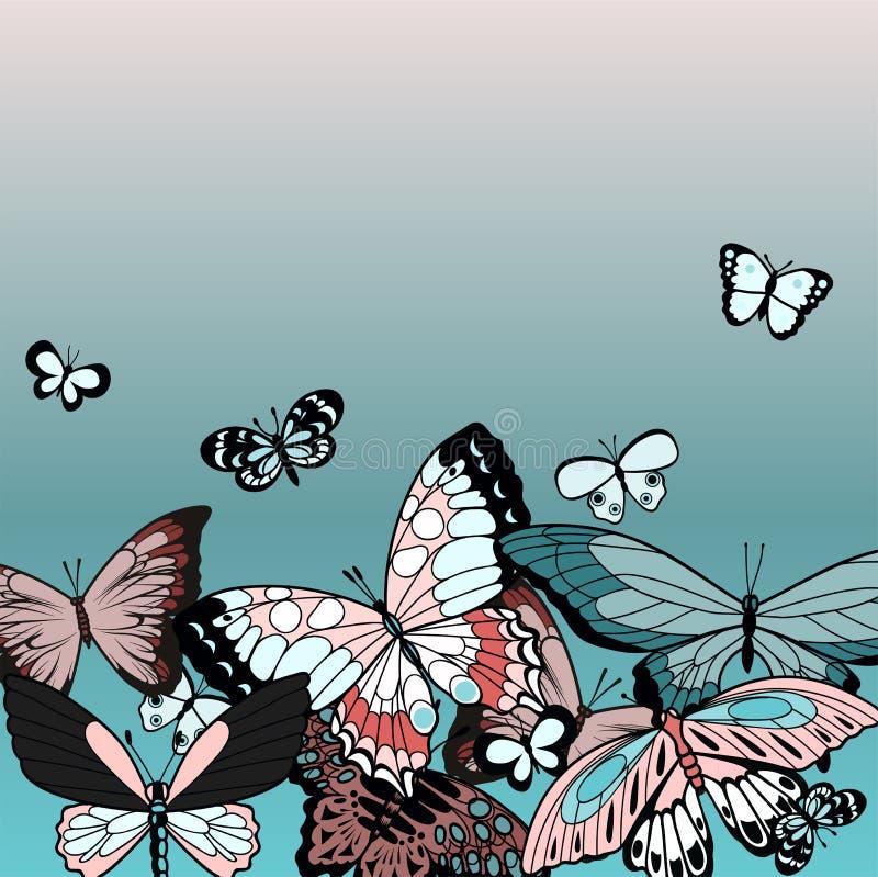 Butterflies summer design illustration in blue vector illustration