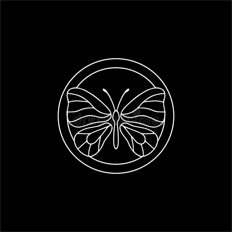 Butterflies Symbols with Abstract Calligraphic Floral Pattern on dark background. Decorative Round circle Frames, Butterflies Symbols with Abstract Calligraphic stock illustration