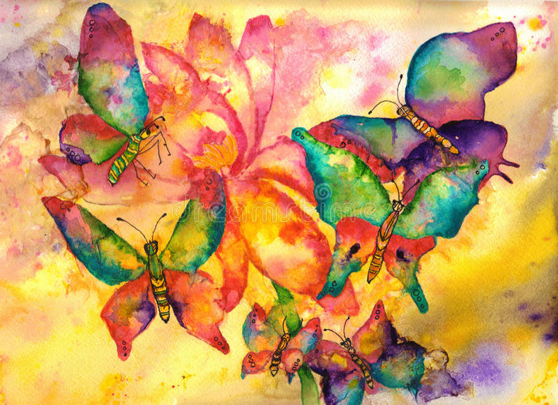 Butterflies Watercolor Painting. Abstract vibrant butterflies in flight around a large pink and yellow flower stock illustration