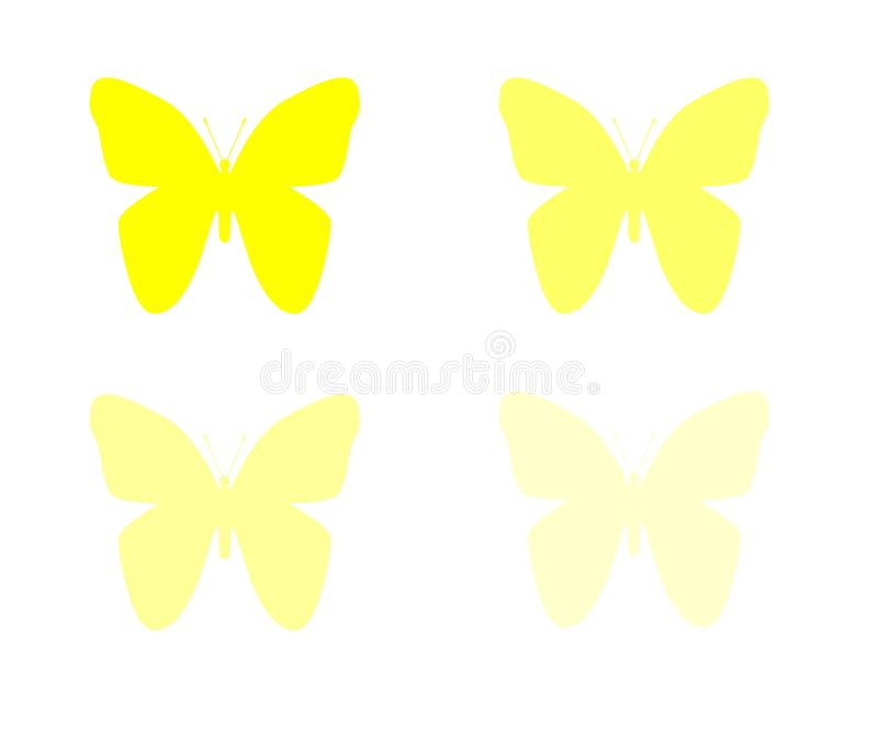Butterflies isolated on white background object element. Butterflies yellow heart isolated on white background object element white orange insect animal stock illustration