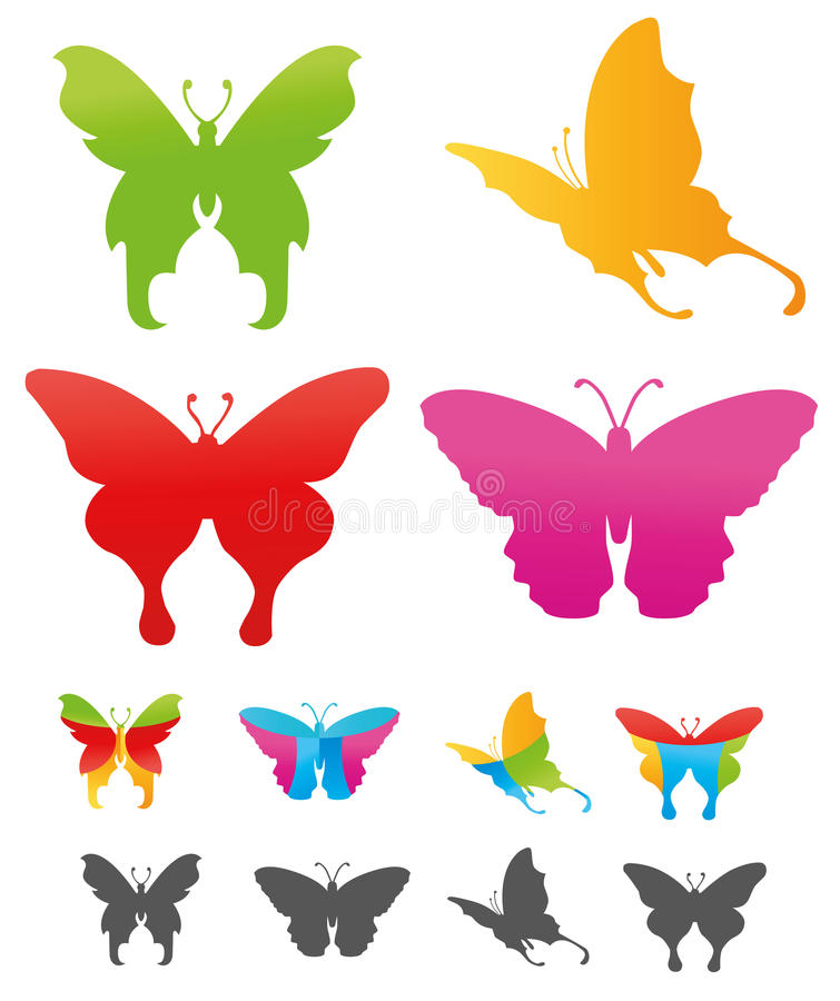 Butterfly. 's colorful icon illustration easy three styles variation royalty free illustration