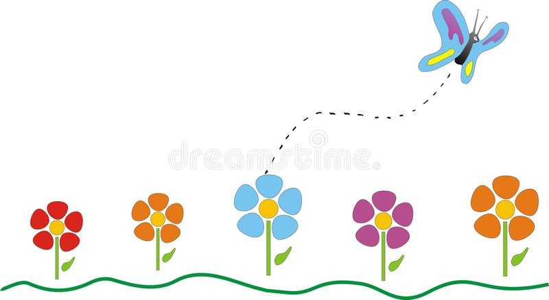 Butterfly. Illustration of Butterfly and flowers, image and vector format