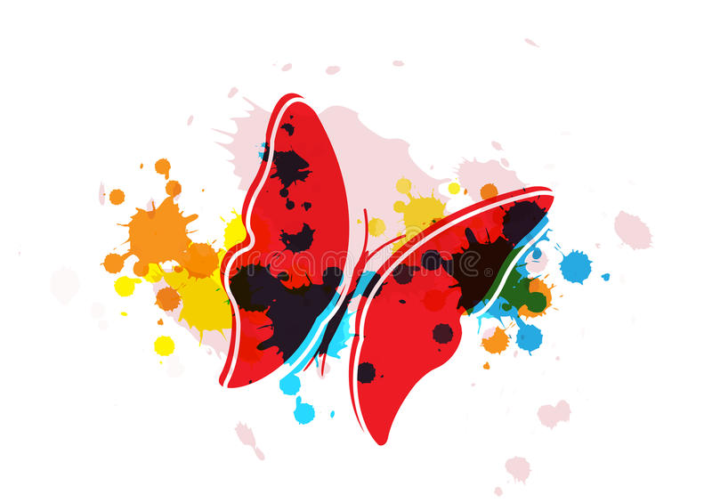 Butterfly On Art Background Stock Photos