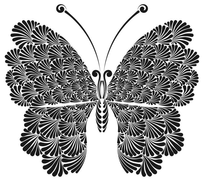 Butterfly with beautiful openwork wings vector illustration