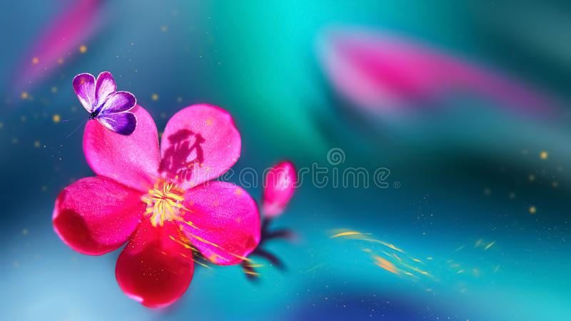 Butterfly on a beautiful pink tropical flower. Natural tropical summer background. Selective focus. Yellow petals in motion. stock images