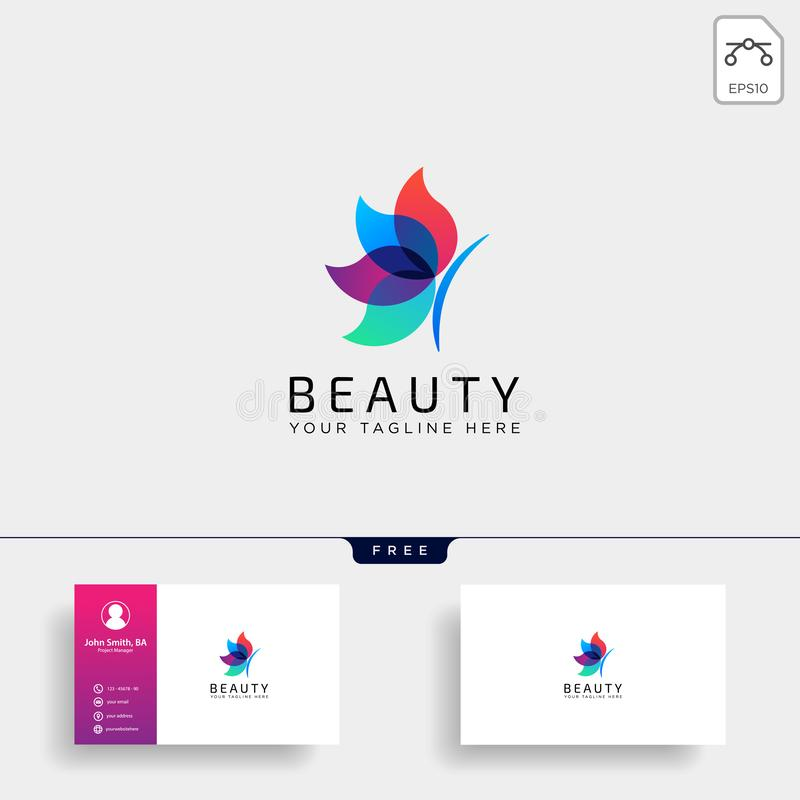 butterfly beauty cosmetic line art logo template illustration icon element stock illustration