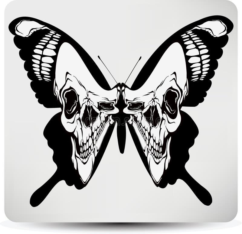 Butterfly black skull. Vector illustration royalty free stock images