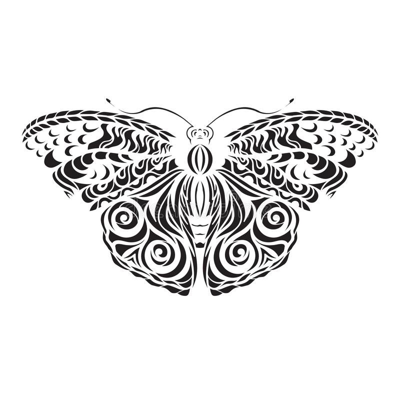 Butterfly black vector. Pattern on the wings. Laser cutting. Tattoo stock illustration