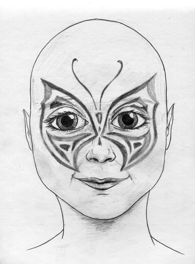 Download Butterfly body art stock illustration. Illustration of smile - 17060877