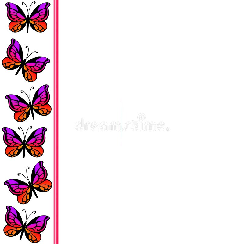 Butterfly Border 2. Ornamental butterflies in red colours on white background vector illustration
