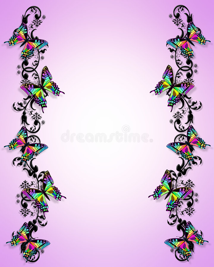 Download Butterfly Border 3D stock illustration. Image of pink - 4056820