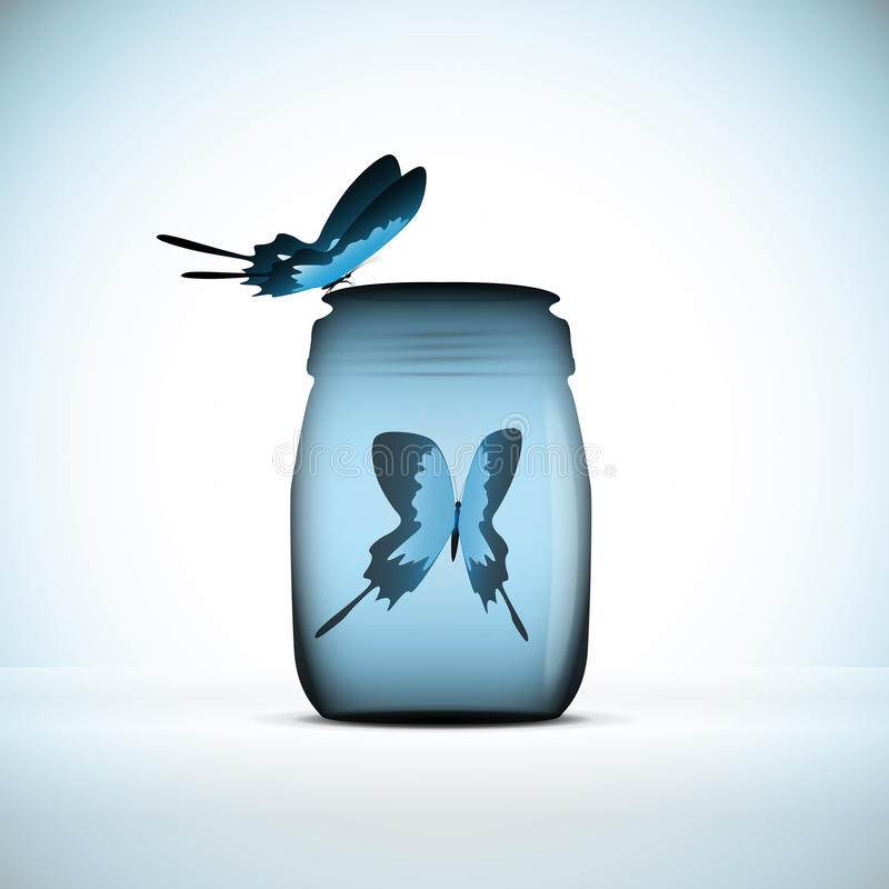 Butterfly in bottle royalty free illustration