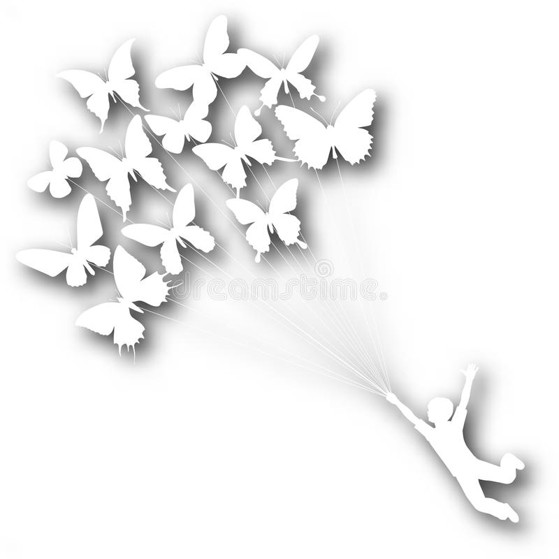 Download Butterfly boy cutout stock vector. Image of flying, motion - 20013189