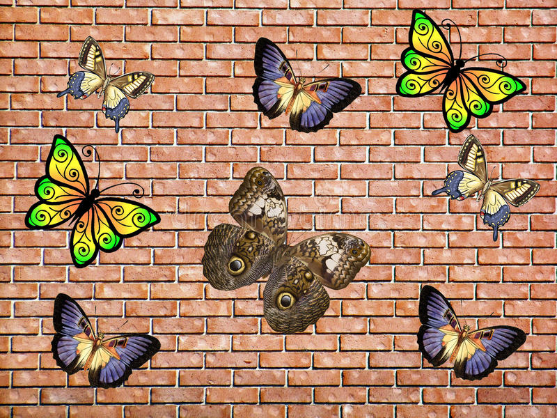 Butterfly & Brick stock photography