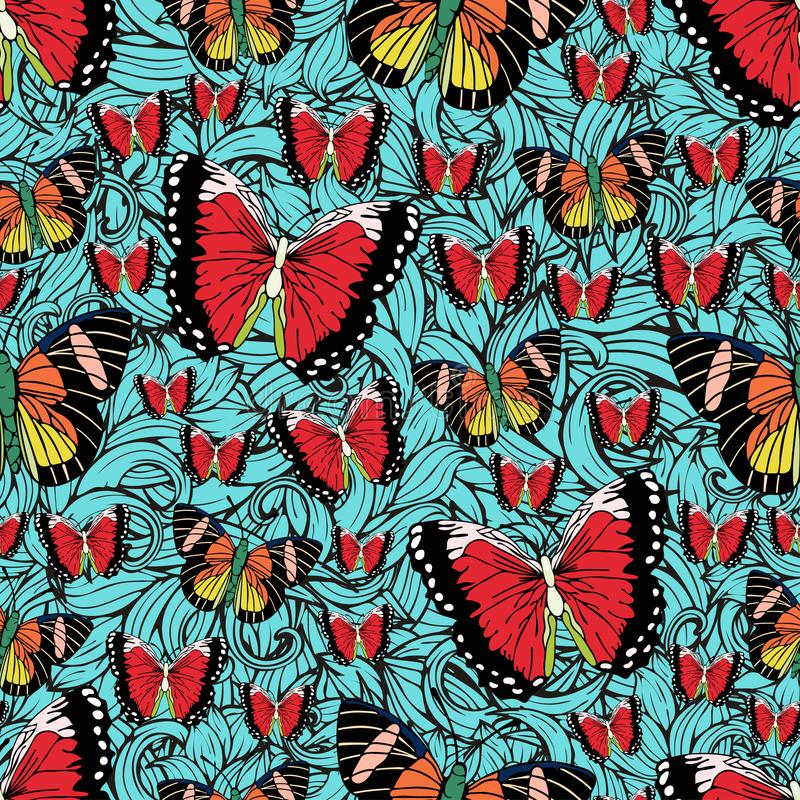Butterfly cartoon drawing seamless pattern, vector background. Abstraction drawn insect with colorful bright wing on blue textured. Background with curls. For royalty free illustration