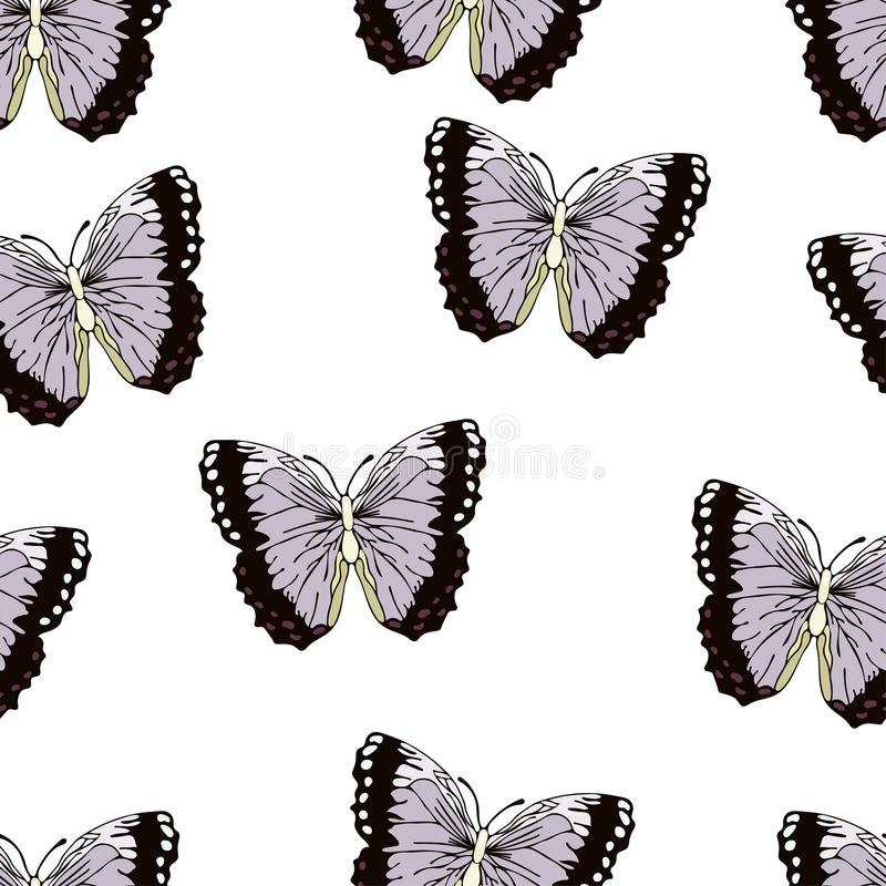 Butterfly cartoon drawing seamless pattern, vector background. Abstraction drawn insect with lilac purple black wings on white bac. Kground. For fabric design royalty free illustration